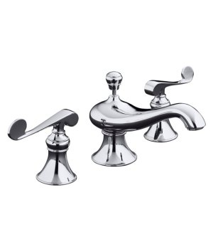 Kohler K-16102-4-CP Revival Widespread Lavatory Faucet with Scroll Lever Handles - Chrome