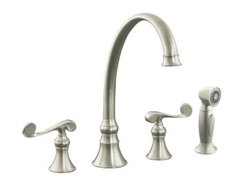 Kohler K-16109-4-BN Revival Two-Handle Kitchen Faucet - Brushed Nickel
