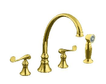 Kohler K-16109-4-PB Revival Two-Handle Kitchen Faucet - Polished Brass