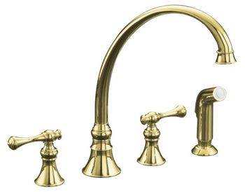 Kohler K-16109-4A-PB Revival Two-Handle Kitchen Faucet - Polished Brass