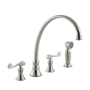 Kohler K-16111-4-BN Revival Two-Handle Kitchen Faucet - Brushed Nickel
