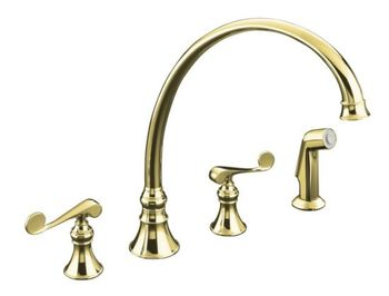 Kohler K-16111-4-PB Revival Two-Handle Kitchen Faucet - Polished Brass
