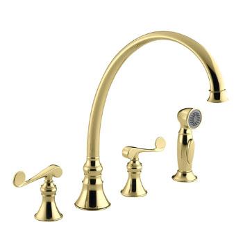 Kohler K-16111-4-PB Revival Two-Handle Kitchen Faucet - Polished Brass