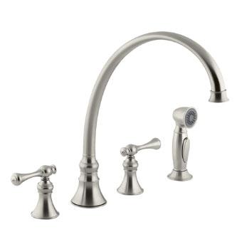 Kohler k 16111 4a bn revival two handle kitchen faucet brushed nickel for Kohler revival bathroom faucet