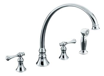 Kohler K-16111-4A-CB Revival Two-Handle Kitchen Faucet - Polished Chrome with Brass Accents (Pictured in Polished Chrome)
