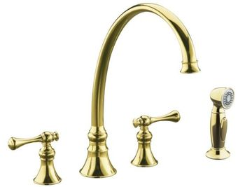 Kohler K-16111-4A-PB Revival Two-Handle Kitchen Faucet - Polished Brass