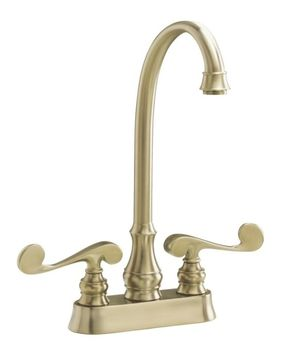 Kohler K-16112-4-BV Revival Entertainment/Bar Sink Faucet with Scroll Lever Handles - Brushed Bronze