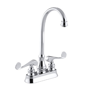 Kohler K-16112-4-CP Revival Entertainment/Bar Sink Faucet with Scroll Lever Handles - Chrome