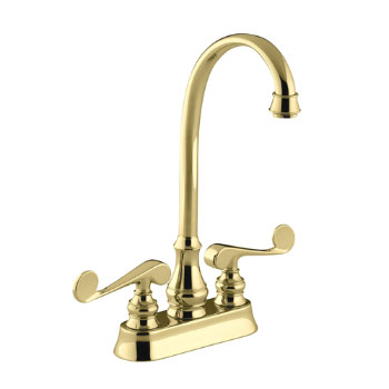 Kohler K-16112-4-PB Revival Entertainment/Bar Sink Faucet with Scroll Lever Handles - Polished Brass