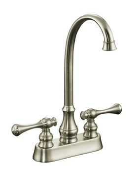 Kohler K-16112-4A-BN Revival Entertainment/Bar Sink Faucet with Traditional Lever Handles - Brushed Nickel