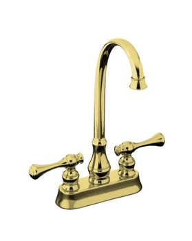 Kohler K-16112-4A-PB Revival Entertainment/Bar Sink Faucet with Traditional Lever Handles - Polished Brass