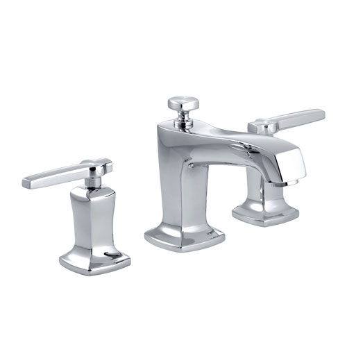 Kohler k 16232 4 cp margaux widespread lavatory faucet chrome for Kohler hands free bathroom faucet