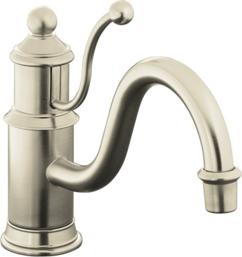 Kohler K-168-BN Antique Single Control Kitchen Sink Faucet, Lever Handle - Brushed Nickel