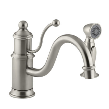 Kohler K-169-BN Antique Single Control Kitchen Faucet with Side Spray - Brushed Nickel