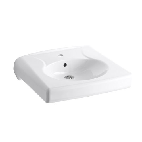 Kohler K-1997-1-0 Brenham Wall-mounted or Concealed Carrier Arm Mounted Commercial Sink with Single Faucet Hole - White
