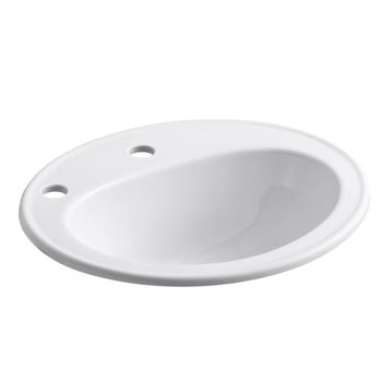 Kohler K-2196-1L-0 Pennington Self-Rimming Lavatory with Single-Hole Faucet Drilling and Left-Hand Soap/Lotion Dispenser Hole Drilling - White