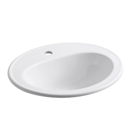 Kohler K-2196-1N-0 Pennington Self-Rimming Lavatory with Single-Hole Faucet Drilling and Sealed Overflow - White