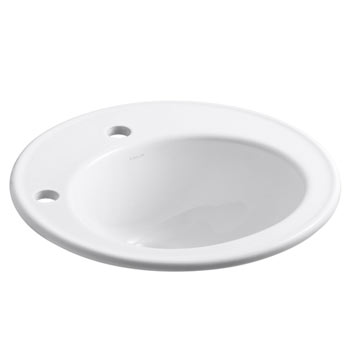 Kohler K-2202-1L-0 Brookline Self-Rimming Lavatory Sink with Single Faucet Hole and Left-Hand Soap/Lotion Dispenser Hole - White