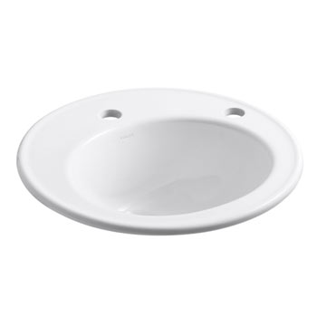 Kohler K-2202-1R-0 Brookline Self-Rimming Lavatory Sink with Single Faucet Hole and Right-Hand Soap/Lotion Dispenser Hole - White