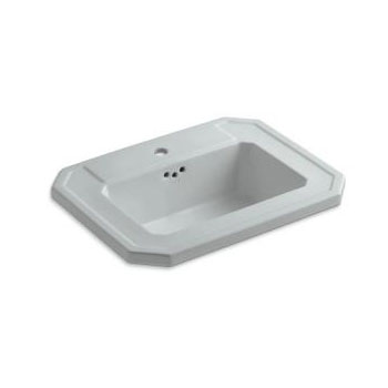 Kohler K-2325-1-95 Kathryn Drop-in Lavatory Sink with Single Faucet Hole - Ice Grey