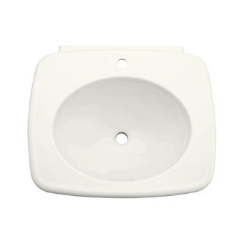 Kohler K-2340-1-0 Bancroft Lavatory Pedestal Basin with Single Faucet Hole - White