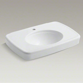 Kohler K-2348-1-0 Bancroft Pedestal Lavatory Basin with Single Faucet Hole - White