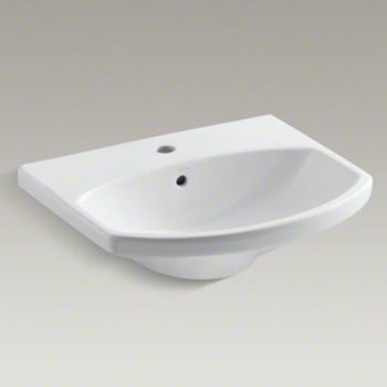 Kohler K-2363-1-0 Cimarron Lavatory Pedestal Basin with Single Faucet Hole - White