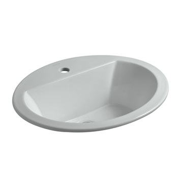 Kohler K-2699-1-95 Bryant Oval Self-Rimming Lavatory Sink with Single Faucet Hole - Ice Grey
