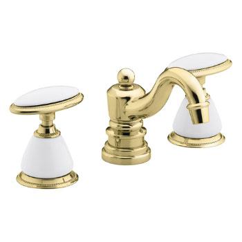 Kohler K-280-9B-PB Antique Widespread Lavatory Faucet - Polished Brass