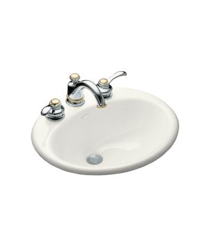 Kohler K-2905-8-0 Farmington Self-Rimming Cast Iron Lavatory Sink - White
