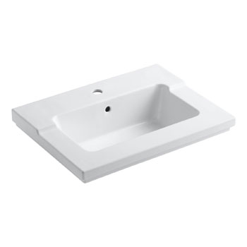 Kohler K-2979-1-0 Tresham One-Piece Surface and Integrated Lavatory with Single-Hole Faucet Drilling - White