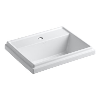 Kohler K-2991-1-0 Tresham Rectangle Self-Rimming Lavatory with Single-Hole Faucet Drilling - White