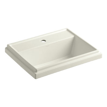 Kohler K-2991-1-96 Tresham Rectangle Self-Rimming Lavatory with Single-Hole Faucet Drilling - Biscuit