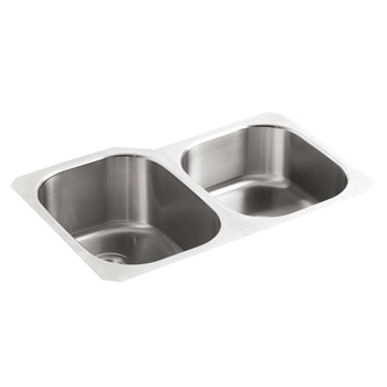 Kohler K-3150 Undertone Large/Medium Undermount Stainless Steel Kitchen Sink