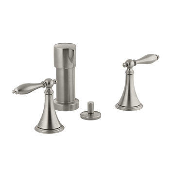 Kohler K-316-4M-BN Finial Traditional Bidet Faucet with Lever Handles and Matching Handle Inserts - Brushed Nickel