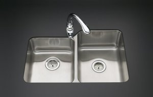 Kohler K-3177-L UnderTone Large/Medium Undercounter Stainless Steel Kitchen Sink