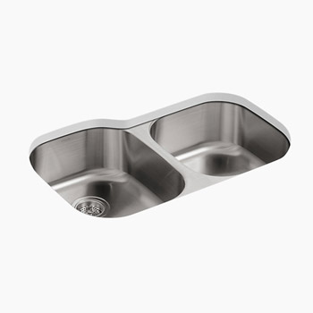 Kohler K-3354 Undertone+ Large/Medium Undercounter Kitchen Sink, Rounded Basin Style