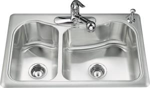 Kohler K-3361-3 Staccato Large/Medium Double Bowl Self Rimming Stainless Steel Three-Hole Kitchen Sink