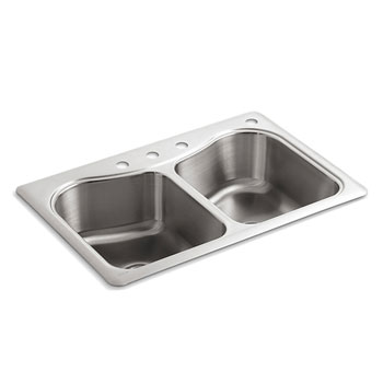 Kohler K-3369-4-NA Staccato 33 in x 22 in x 8-5/16 in Top-mount Double Equal Bowl Kitchen Sink with 4 Faucet Holes