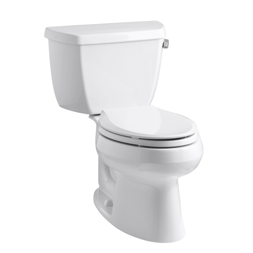 Kohler K-3575-RA-0 Wellworth Two Piece Elongated 1.28 gpf Toilet with Class Five Flush Technology and Right Hand Trip Lever - White