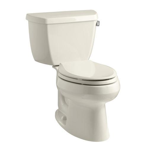 Kohler K-3575-RA-47 Wellworth Two Piece Elongated 1.28 gpf Toilet with Class Five Flush Technology and Right Hand Trip Lever - Almond