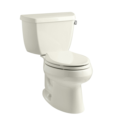 Kohler K-3575-RA-96 Wellworth Two Piece Elongated 1.28 gpf Toilet with Class Five Flush Technology and Right Hand Trip Lever - Biscuit