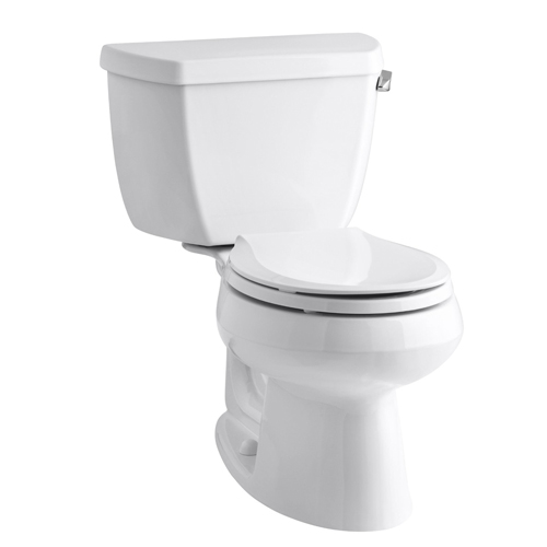 Kohler K-3577-RA-0 Wellworth Two Piece Round Front 1.28 gpf Toilet with Class Five Flush Technology and Right Hand Trip Lever - White
