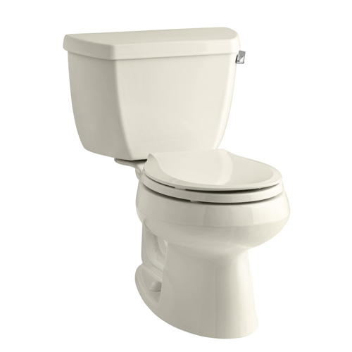 Kohler K-3577-RA-47 Wellworth Two Piece Round Front 1.28 gpf Toilet with Class Five Flush Technology and Right Hand Trip Lever - Almond