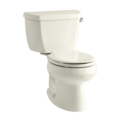 Kohler K-3577-RA-96 Wellworth Two Piece Round Front 1.28 gpf Toilet with Class Five Flush Technology and Right Hand Trip Lever - Biscuit