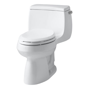 Kohler K-3615-RA-0 Gabrielle Comfort Height One-Piece Compact Elongated 1.28 gpf Toilet with Right Hand Trip Lever - White
