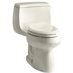Kohler K-3615-RA-47 Gabrielle Comfort Height One-Piece Compact Elongated 1.28 gpf Toilet with Right Hand Trip Lever - Almond