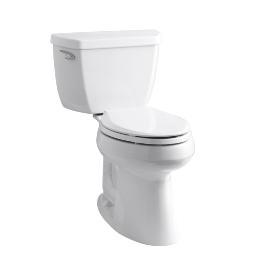Kohler K-3713-0 Highline Classic Comfort Height Two Piece Elongated Toilet with Class Five Flush Technology and Left Hand Trip Lever - White