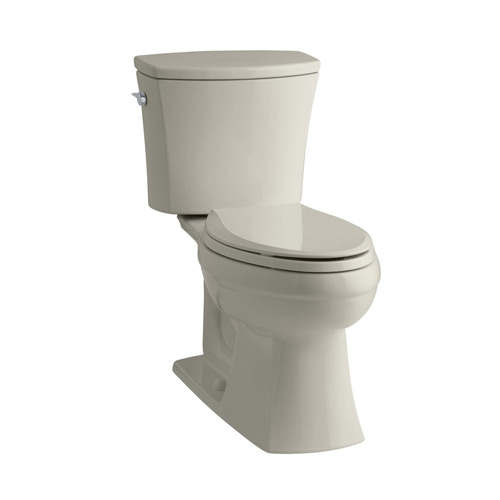 Kohler K-3754-G9 Kelston Comfort Height Two Piece 1.6 gpf Elongated Toilet with AquaPiston Flush Technology and Left Hand Trip Lever - Sandbar
