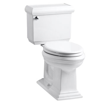 Kohler K-3816-0 Memoirs Comfort Height Two Piece Elongated 1.28 gpf Toilet with Classic Design - White